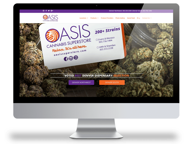 Oasis Cannabis Superstore Website Design Picture
